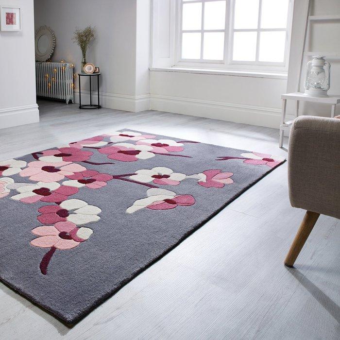 Dunelm Blossom Rug Pink and Grey
