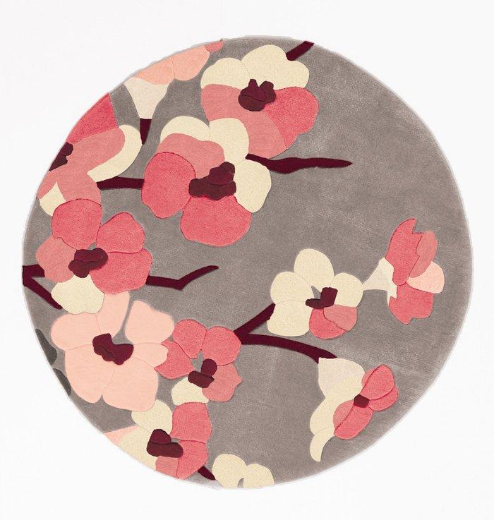 Dunelm Infinite Blossom Circle Rug Pink