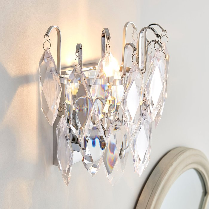 Dunelm Parla Jewel Wall Light Chrome