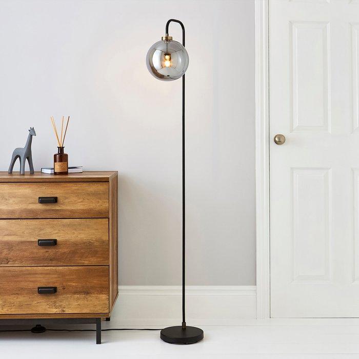 Dunelm Tanner Black and Glass Floor Lamp Black