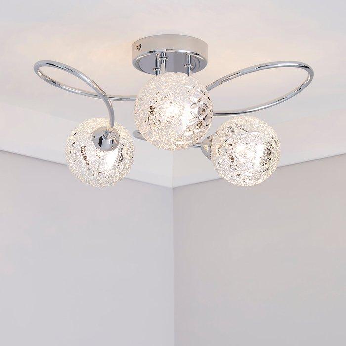 Dunelm Vigo 3 Light Glass Semi-Flush Ceiling Fitting Chrome