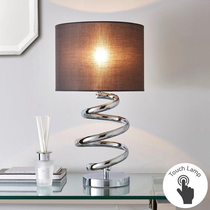 Dunelm Etta Chrome Touch Dimmable Table Lamp Grey