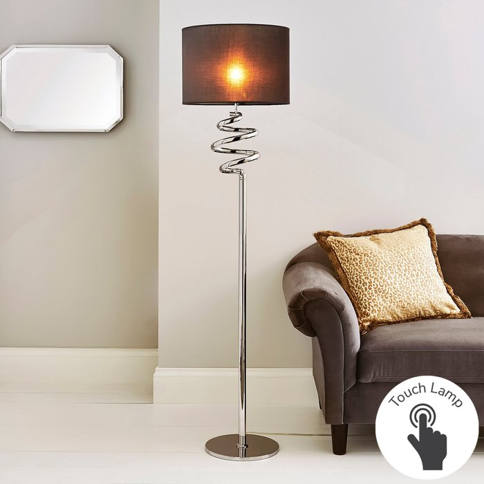 Dunelm Etta Touch Dimmable Chrome Floor Lamp Grey