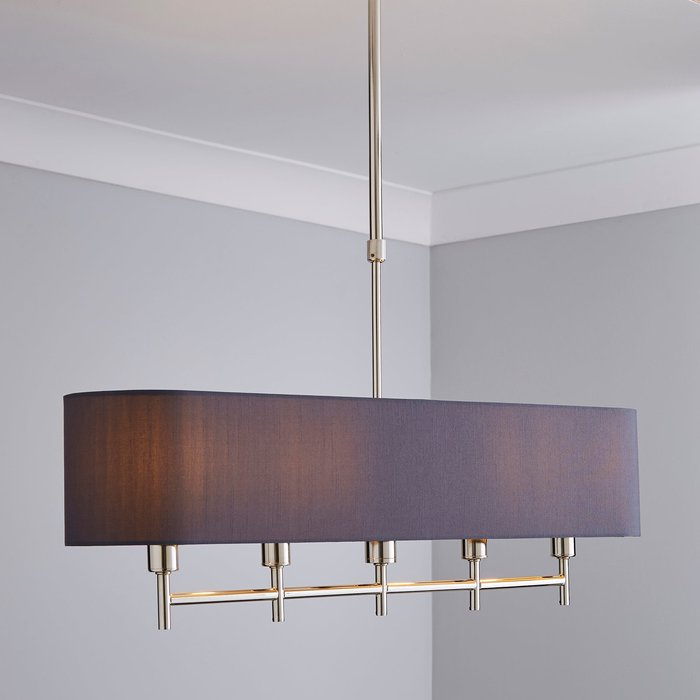 5A Fifth Avenue 5A Edmonton 5 Light Bar Shaded Grey Diner Ceiling Fitting Nickel