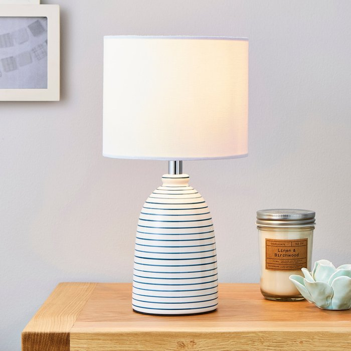 Dunelm Tenby Ceramic White and Blue Table Lamp White