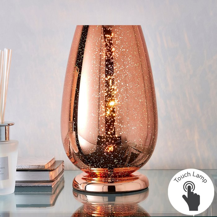 Dunelm Ivy Copper Glass Table Lamp Copper