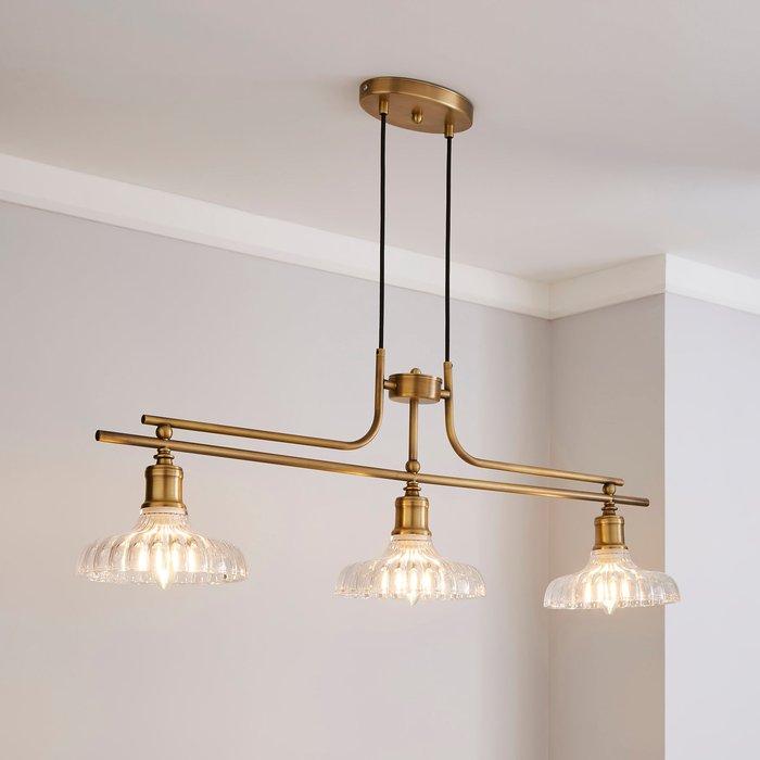 Dunelm Colt 3 Light Diner Antique Brass Ceiling Fitting Gold