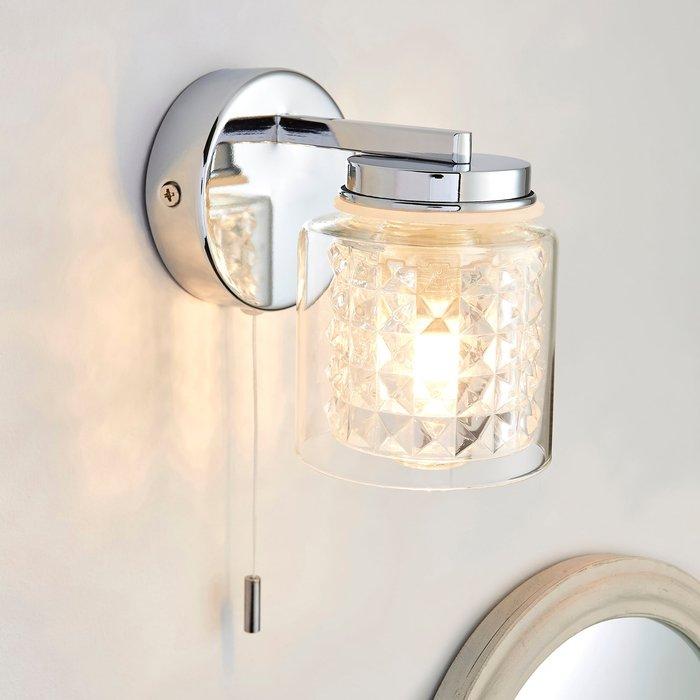 Dunelm Hylton Glass Bathroom Wall Light Chrome