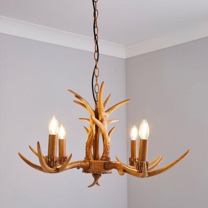 Dunelm Antler 4 Light Candelabra Wood Effect Ceiling Fitting Brown