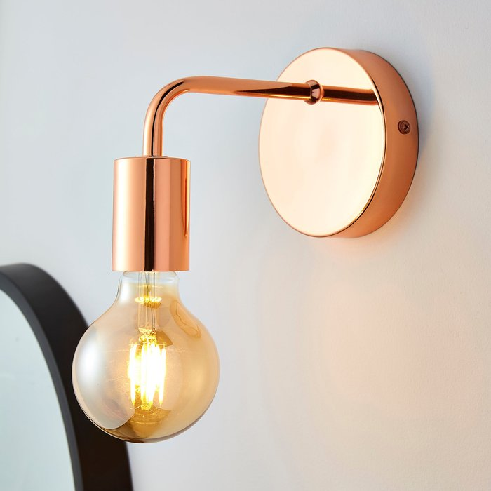 Dunelm Adonis Copper Wall Light Copper