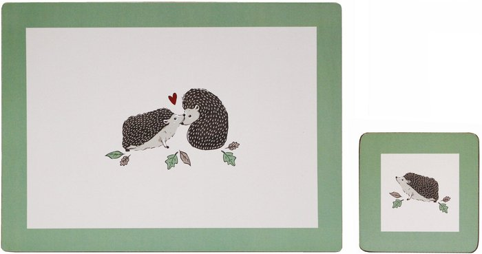 Dunelm Set of 4 Hedgehog Placemats and Coasters Multi coloured