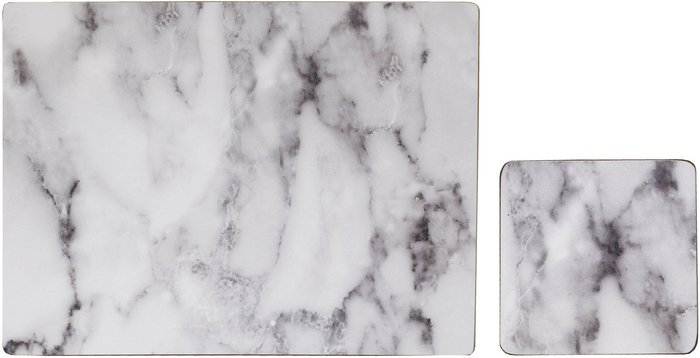 Dunelm Set of 4 White Marble Effect Placemats & Coasters White