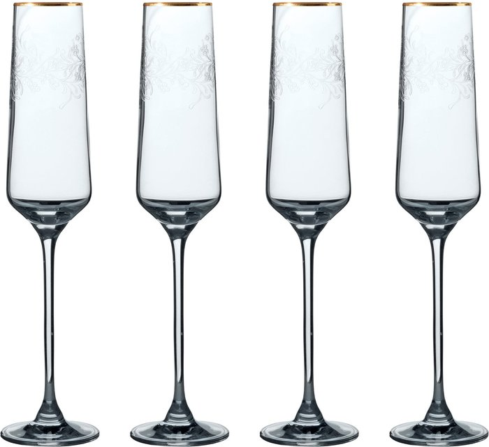 V&A V&A The Cole Collection Set of 4 Champagne Flutes Clear