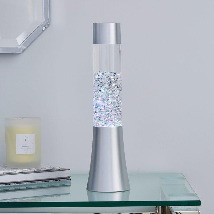 Dunelm Silver Glitter Lamp Silver