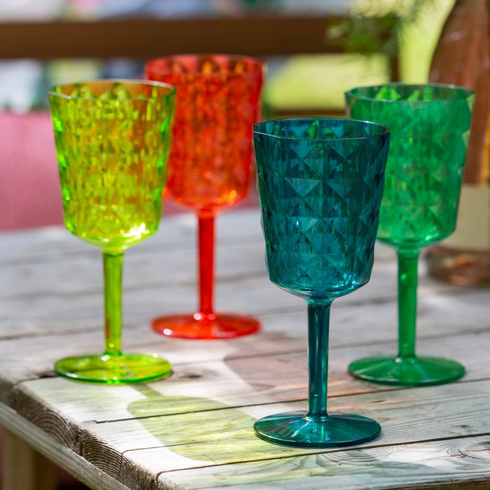 Dunelm Set of 4 Acrylic Multicoloured Wine Glasses Green, Blue and Red