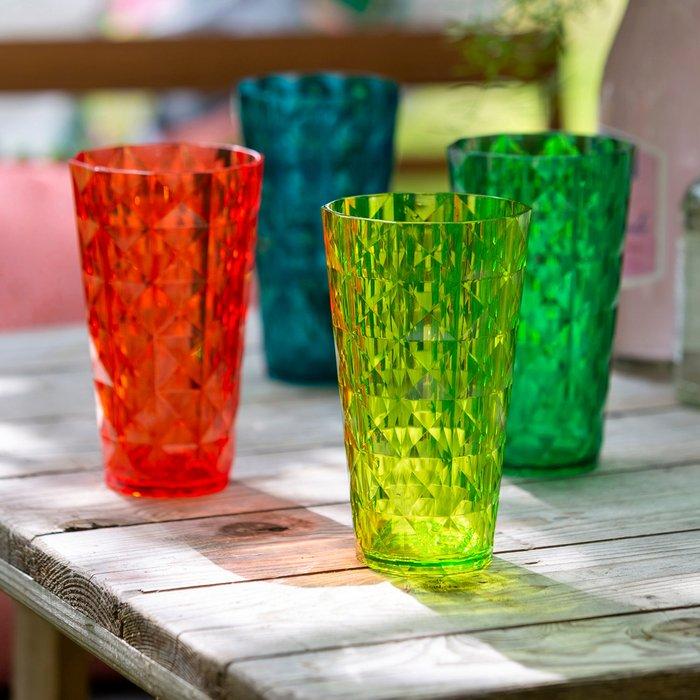 Dunelm Set of 4 Acrylic Multicoloured Tumblers Clear