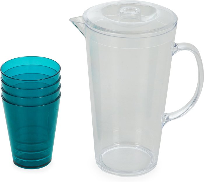 Dunelm Pitcher Jug with Set of 4 Tumblers Clear and Blue