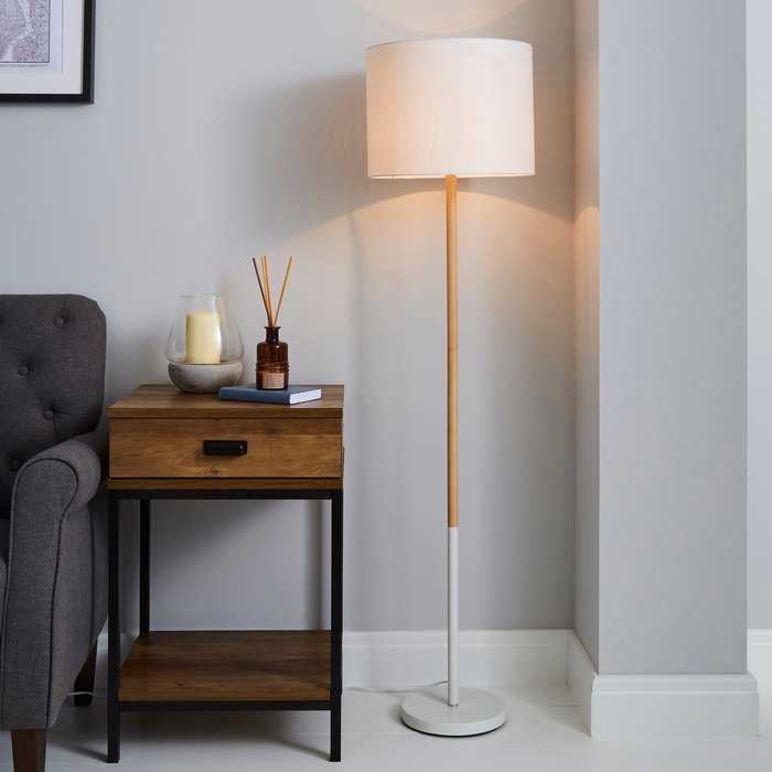 Dunelm Dion Wood White Floor Lamp White