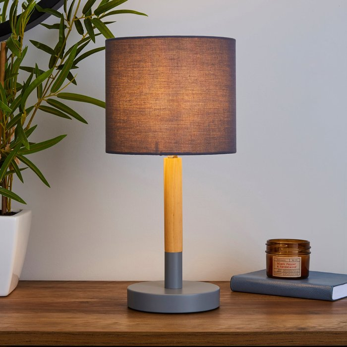 Dunelm Dion Grey Wood Table Lamp Grey