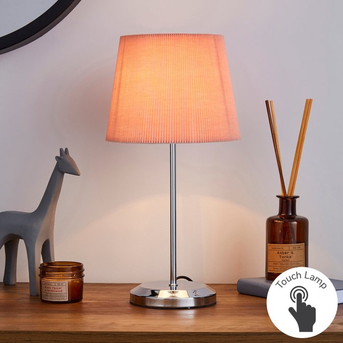 Dunelm Jali Pink Touch Dimmable Table Lamp Pink