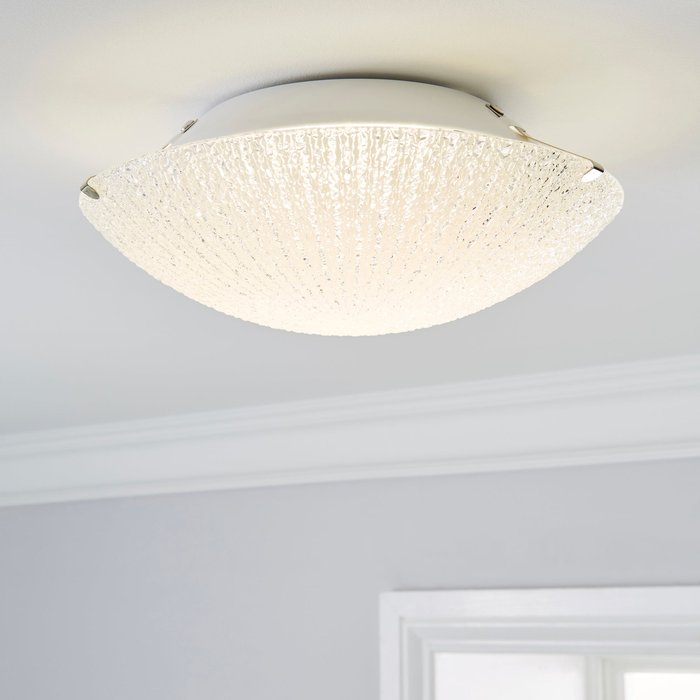 Dunelm Rocco 1 Light LED Glass Flush Ceiling Fitting Clear