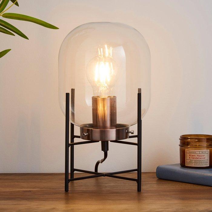 Dunelm Dayo Jardinere Glass Table Lamp Black