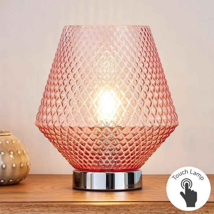 Dunelm Miah Blush Touch Dimmable Table Lamp Blush