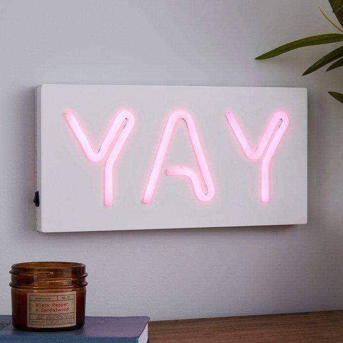 Dunelm Yay Neon Effect Sign Light Pink