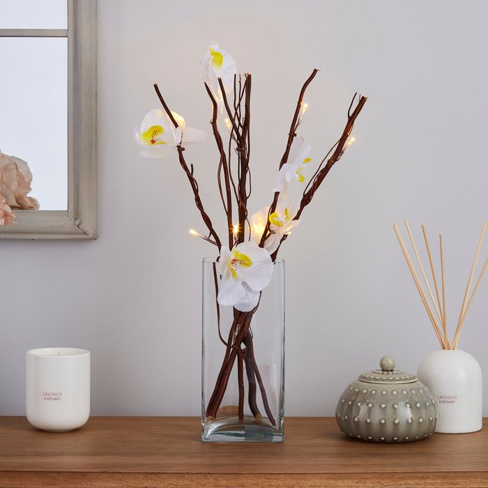 Dunelm White Orchid Brown Mini Twig Lights White