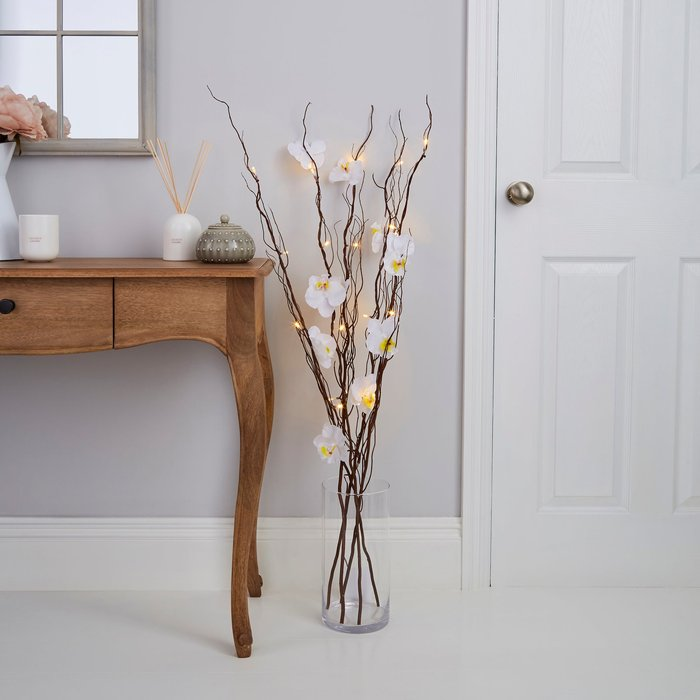 Dunelm White Orchid Brown Twig Lights White
