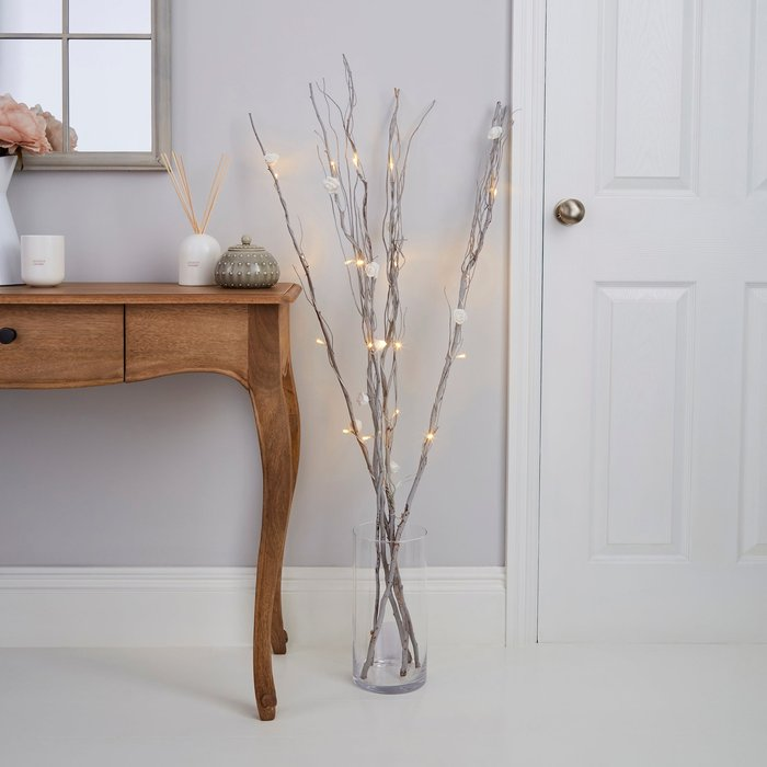 Dunelm White Rose Silver Twig Lights White
