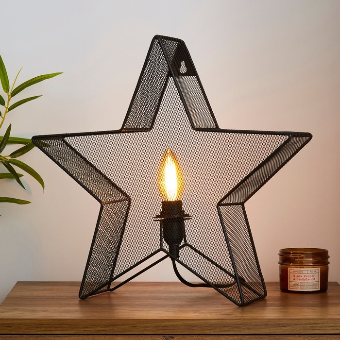 Dunelm Saron Star Table And Easy Fit Wall Light Black