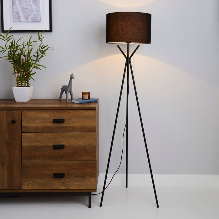 Dunelm Drei Tripod Black Floor Lamp Black