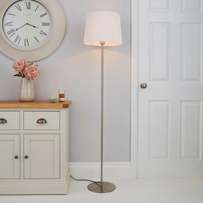 Dunelm Tula Micro Pleat White Shade Floor Lamp White