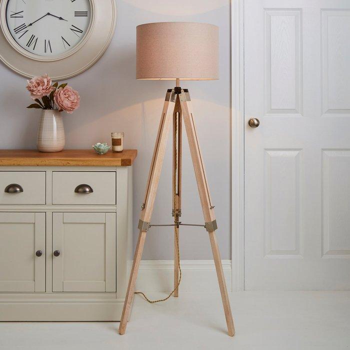 Dunelm Trio Tripod Light Wood Floor Lamp Light Wood