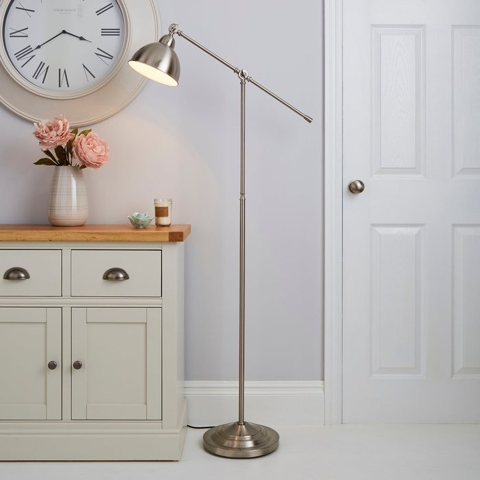 Dunelm Lever Arm Satin Nickel Floor Lamp Silver