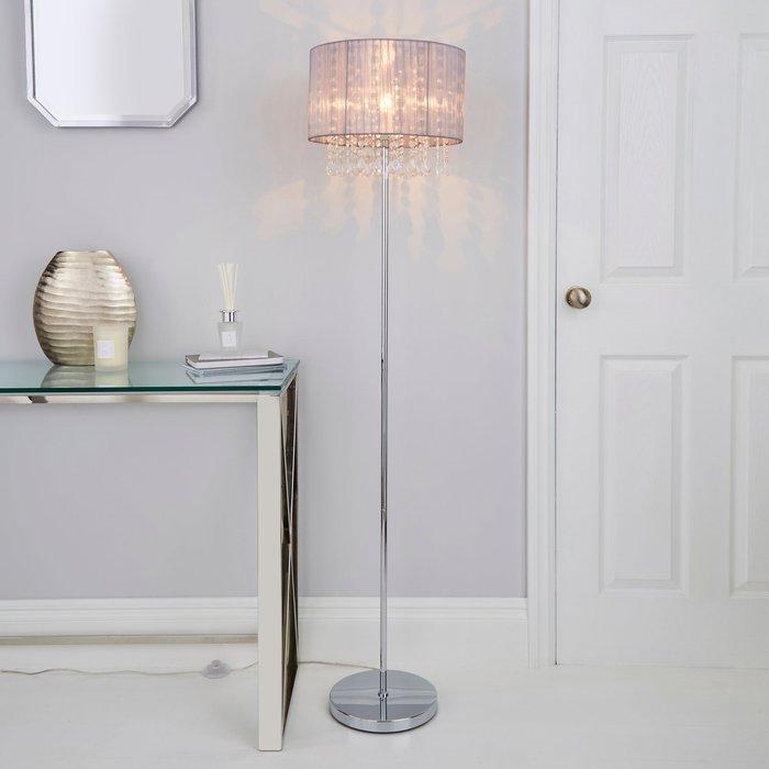 Dunelm Riah Jewel Grey Floor Lamp Grey
