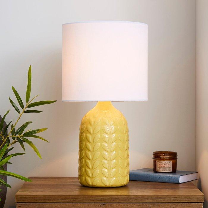 Dunelm Magda Ceramic Ochre Table Lamp Ochre