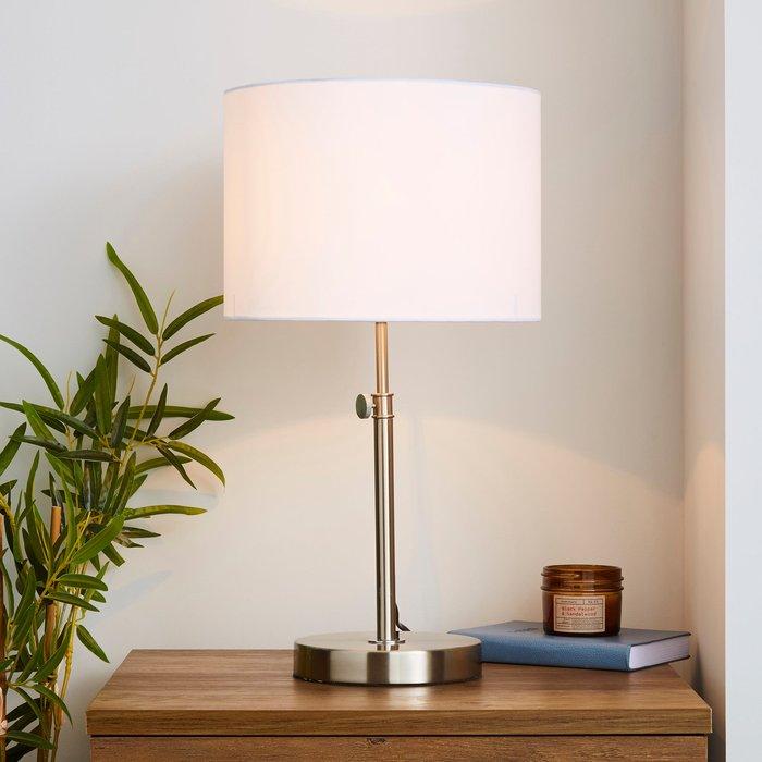 Dunelm Hemming Adjustable Height Satin Nickel Table Lamp Satin Nickel