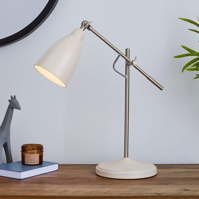 Dunelm Robson Mushroom Lever Arm Task Desk Lamp Mushroom