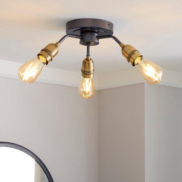 Dunelm Marsden 3 Light Antique Brass Industrial Semi-Flush Ceiling Fitting Brass Nickel