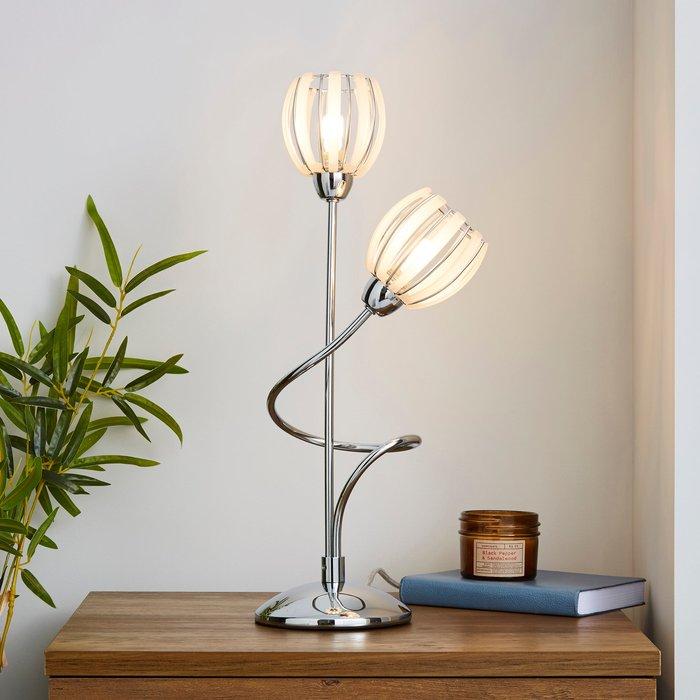Dunelm Rosa 2 Arm Chrome Table Lamp Silver