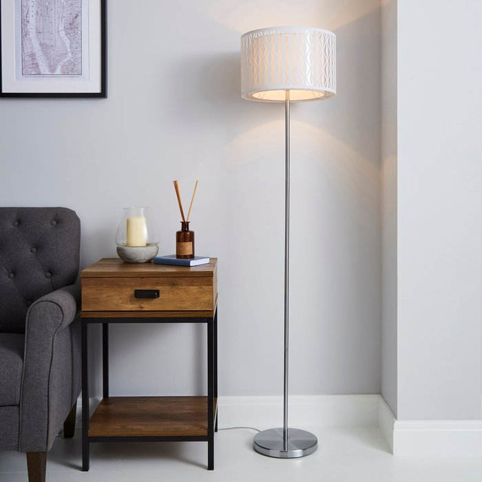 Dunelm Jodie Cut Out Ivory Floor Lamp White