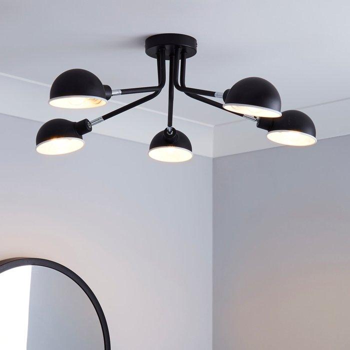 Dunelm Borr 5 Light Black Ceiling Fitting Black