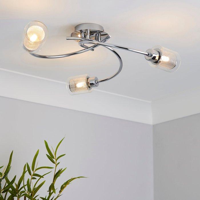 Dunelm Grace 3 Light Chrome Semi-Flush Ceiling Fitting Silver