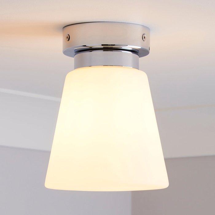 Dunelm Delavin 1 Light Pendant Frosted Glass Flush Ceiling Fitting Silver