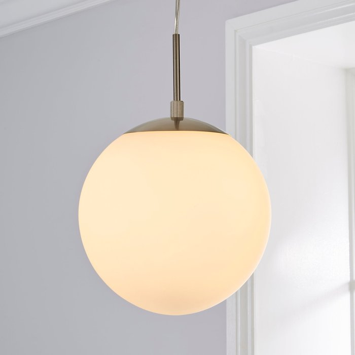 Dunelm Hamptworth 1 Light Pendant Dome Frosted Glass Ceiling Fitting Silver