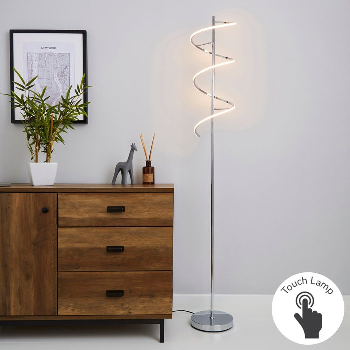 Dunelm Apollo Integrated LED Touch Dimmable Chrome Floor Lamp Chrome
