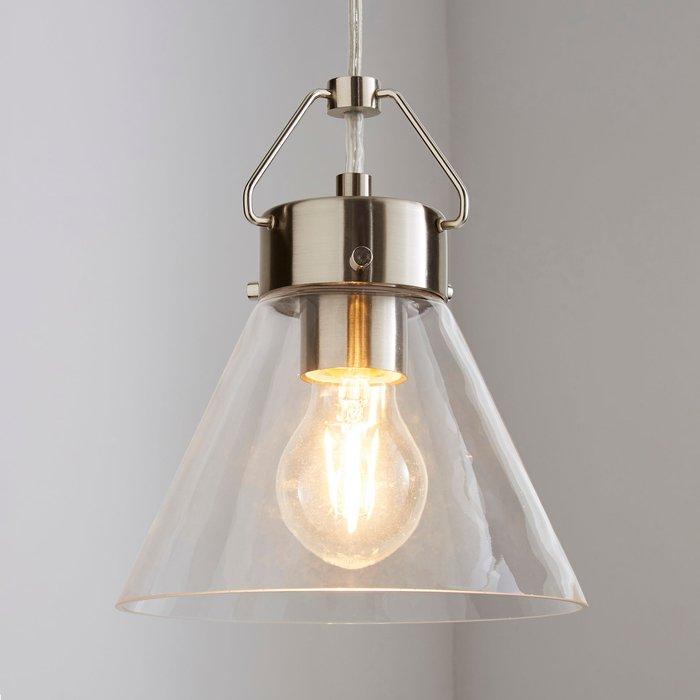 Dunelm Delavin 1 Light Pendant Glass Ceiling Fitting Silver