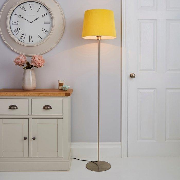 Dunelm Tula Micro Pleat Ochre Shade Floor Lamp Ochre